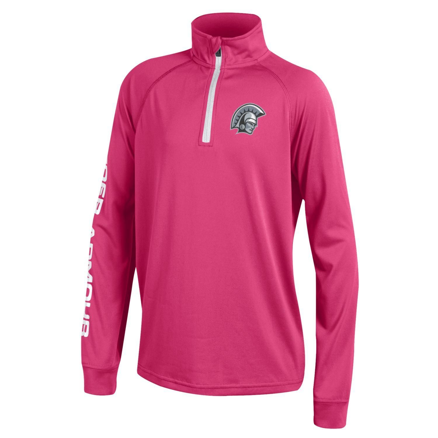 Under Armour Youth 1/4 zip Tech Fleece pullover in Pink
