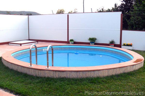piscina circular gre enterrada pertenece a la serie atlantis y mide xcm el borde