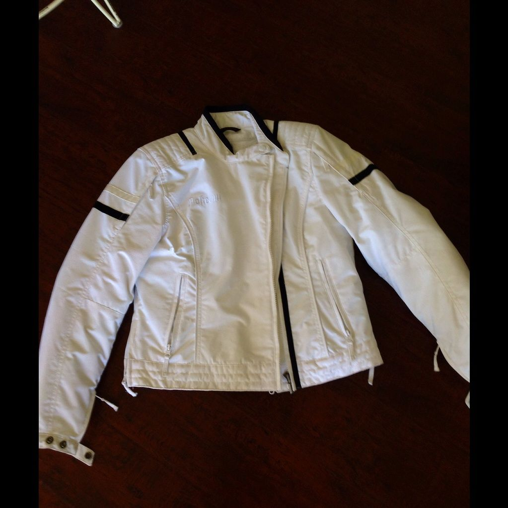 Pokerun White Motorcycle Jacket With Black Detail