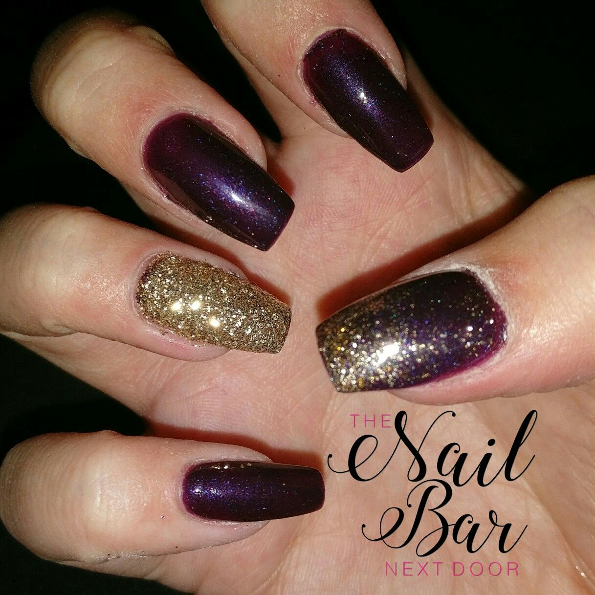 Nail Art Ideas purple and gold nail art : My Christmas nails. Deep purple acrylic nails with gold glitter ...