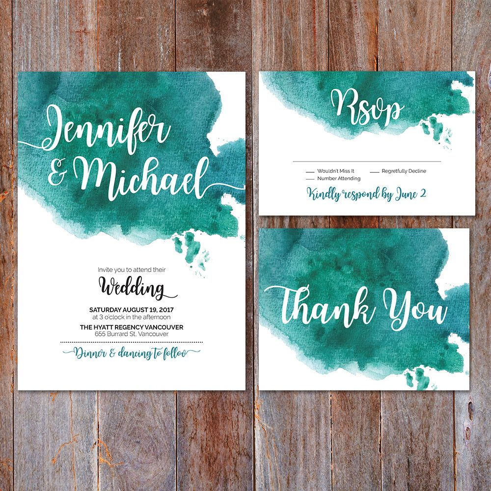 Green Watercolor Wedding Invitation, Watercolor Invite, Thank you ...