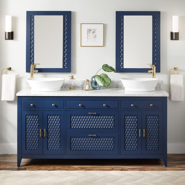 olive green bathroom decor ideas for your luxury bathroom.htm 72  thorton mahogany double vessel sink vanity bright navy blue  vessel sink vanity