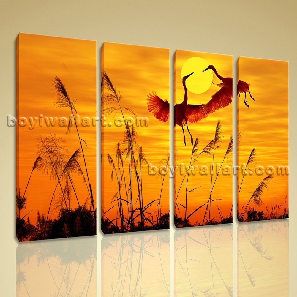 Stunning sunset glow wall art picture prints on canvas crane dancing