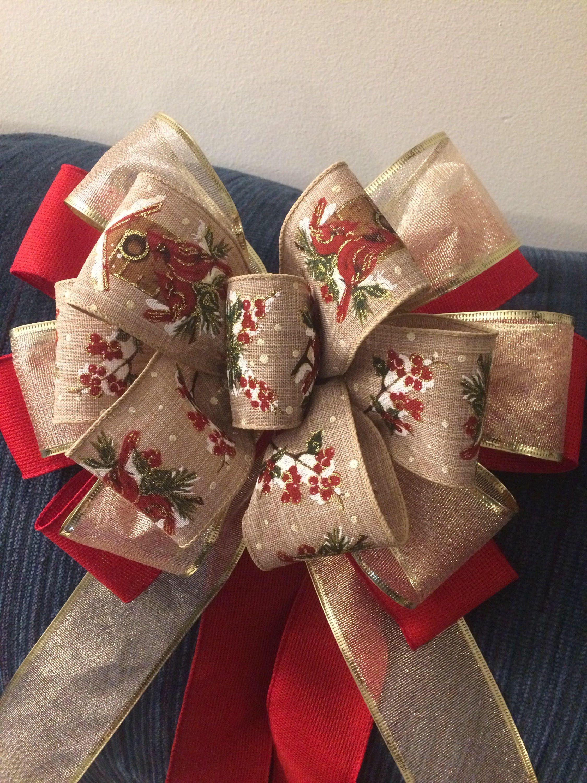 Tree Topper Bow Silver Snowflakes Christmas Big Wreath Wall Decor Mantel Christmas Winter Decor