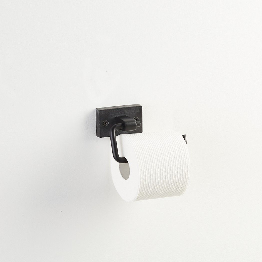 Shop Black Marble Wall Mounted Toilet Paper Holder. Honed black ...