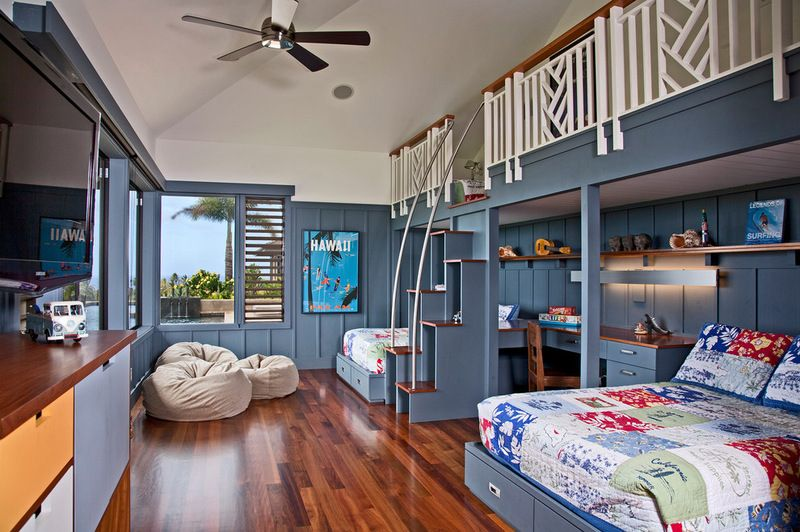 Places Where The Kids Could Sleep Study Play Video Games And Read To Fit All Those Functions Into One 14 By 2 Big Bedrooms Home Bedroom Kids Shared Bedroom