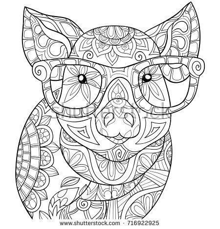 Adult coloring page book a pig zen style art illustration for Free printable zen coloring pages