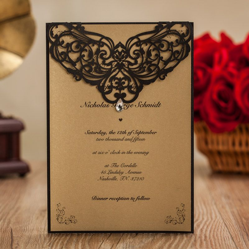 Wedding invitatons with rhinestone black laser cut invitation cards wedding invitatons with rhinestone black laser cut invitation cards for birthday party favors with envelope stock stopboris Image collections