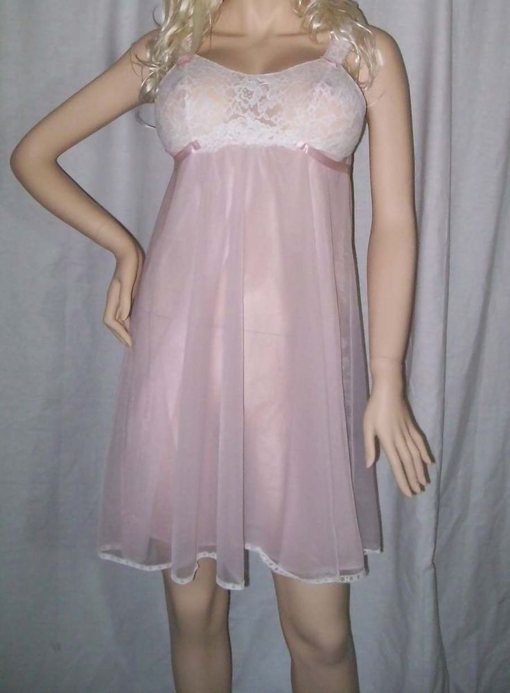 Vintage Vanity Fair Pink Chiffon Baby Doll Nightie Small