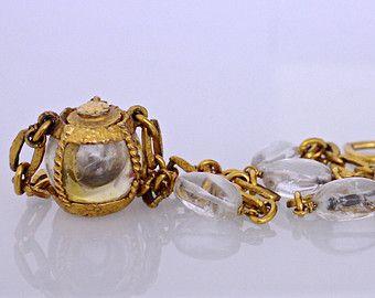 Vintage YVES SAINT LAURENT Perfume Bottle Glass Stone Necklace