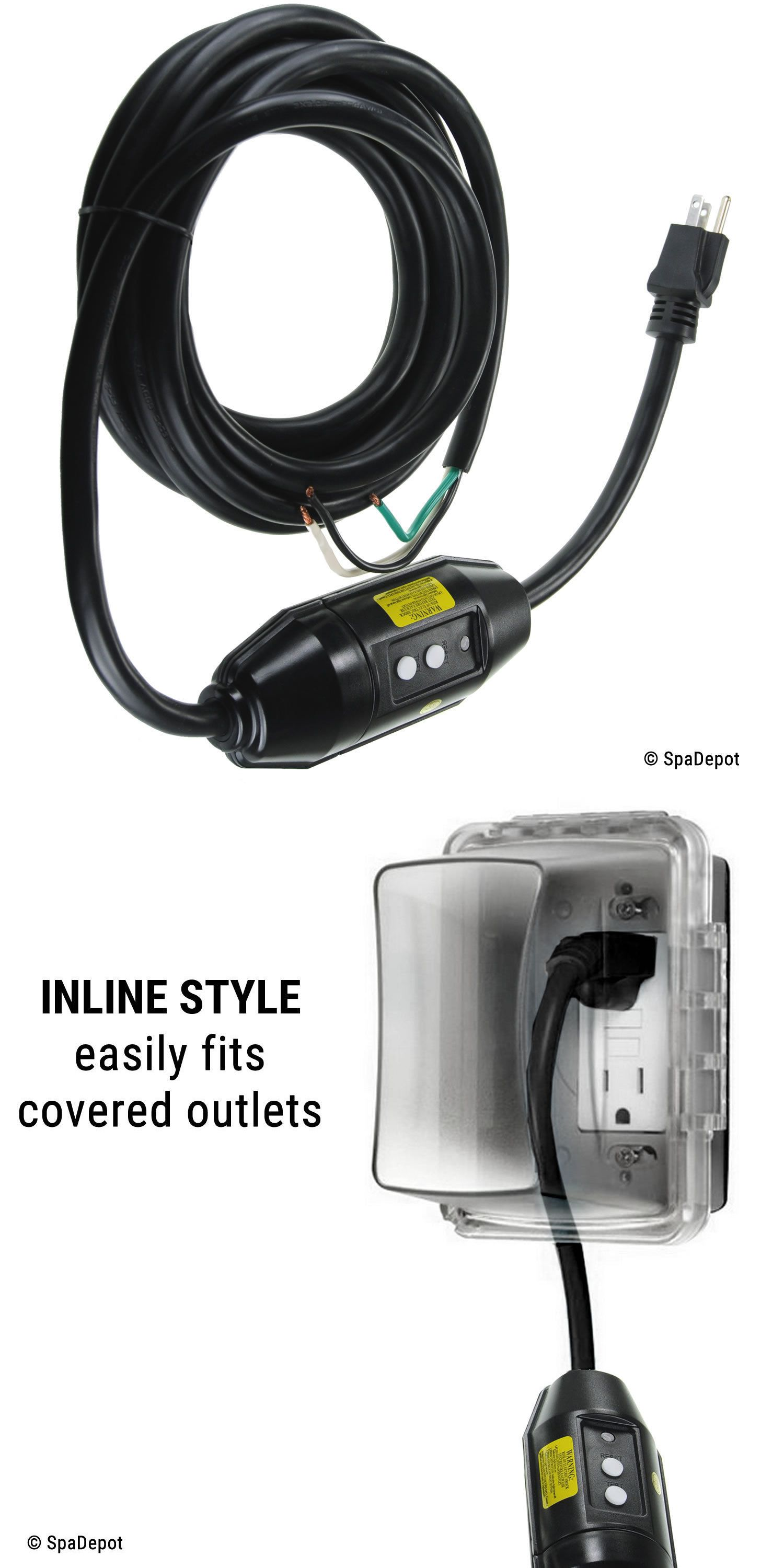 Hot Tub Power Cord 120v 15a W In Line Gfci For Plug N Play Spas 16 Length Spa Pool Gfci Outdoor Outlet