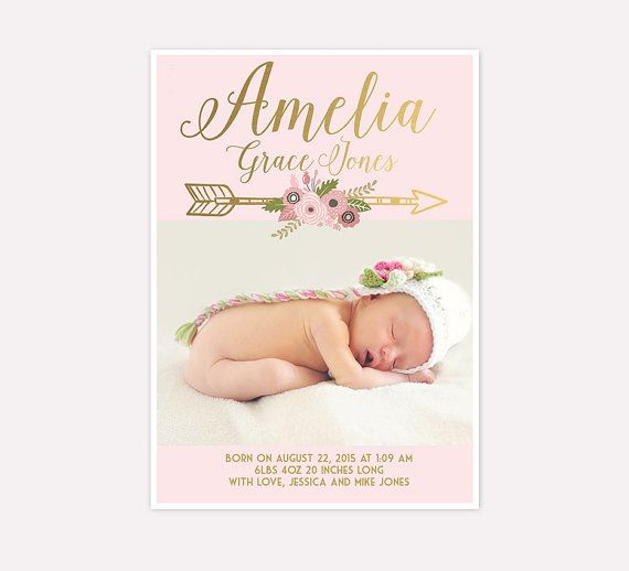 Baby Girl Birth Announcement Faux Gold Foil And Pink Floral Baby