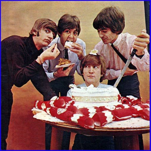 The Beatles eating cake