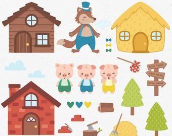 Poco Imagenes Predisenadas De Caperucita Roja Lobo Clipart Etsy Little Pigs Pig Clipart Three Little Pigs
