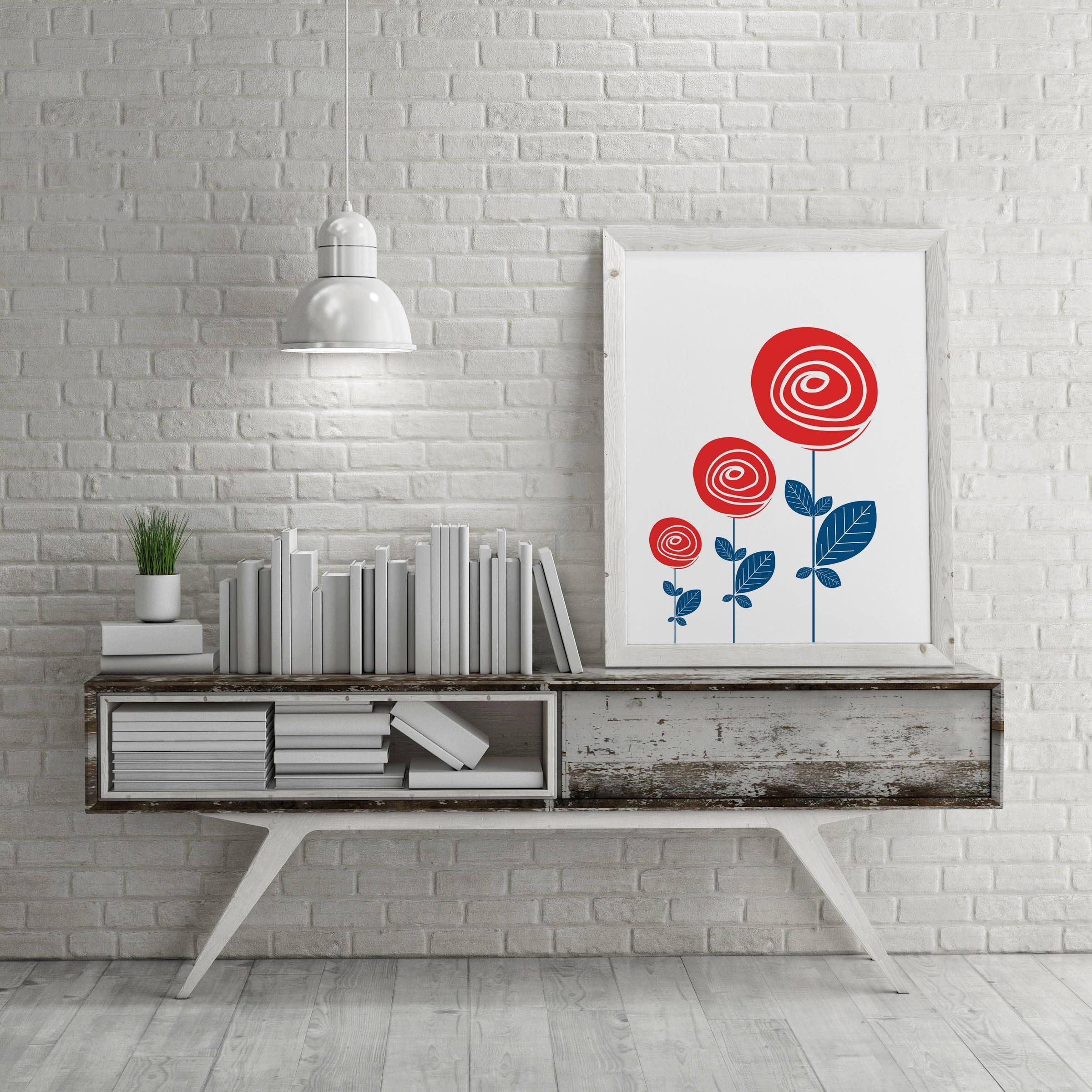 Patriotic Red White Blue 3 Flowers Printable Wall Art|Instant Download Memorial Day Decor| & Patriotic Red White Blue 3 Flowers Printable Wall Art|Instant ...