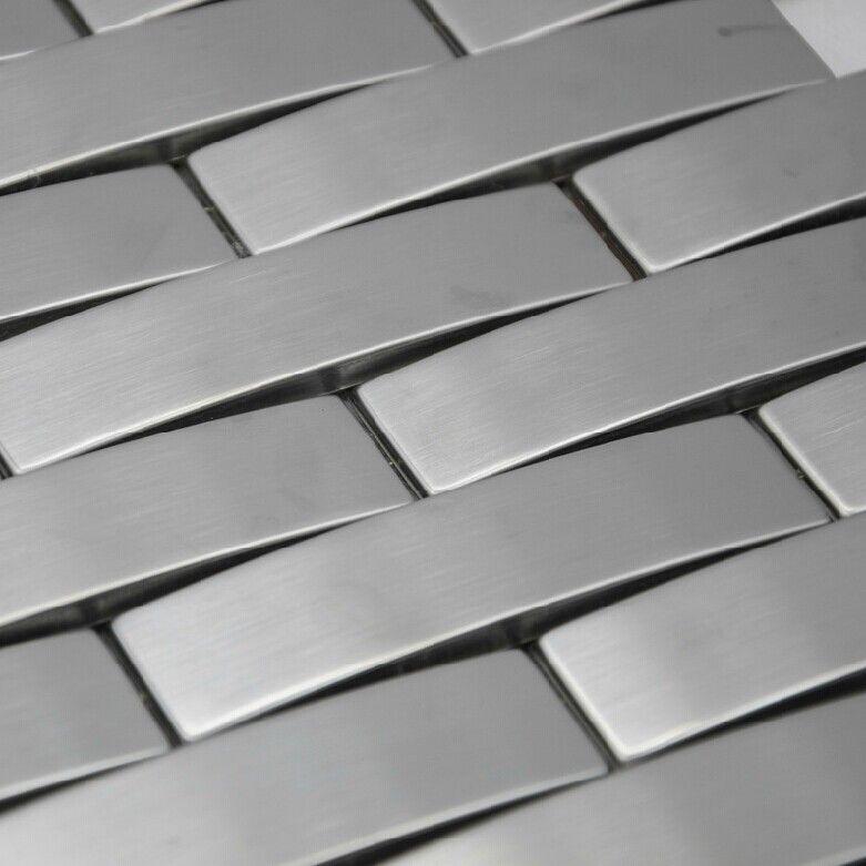 Arched Metal Mosaic Wall Tile Backsplash Smmt063 Silver Brushed Stainless Steel Mosaics Gl Tiles