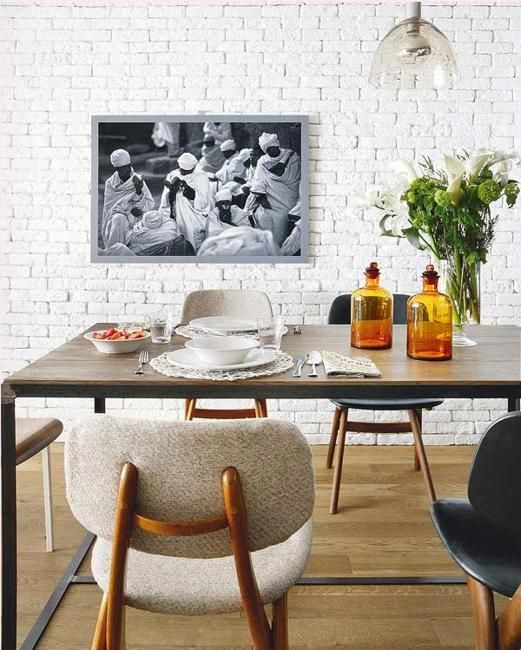 33 Modern Interior Design Ideas Emphasizing White Brick Walls Brick Interior Wall Dining Room Style White Brick Walls