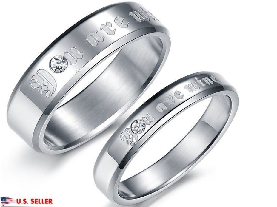 9ccfce9f8f USA 2PCS You are Mine Silver Stainless Steel Couple Ring Promise Wedding  Rings #FlyStarJewelry