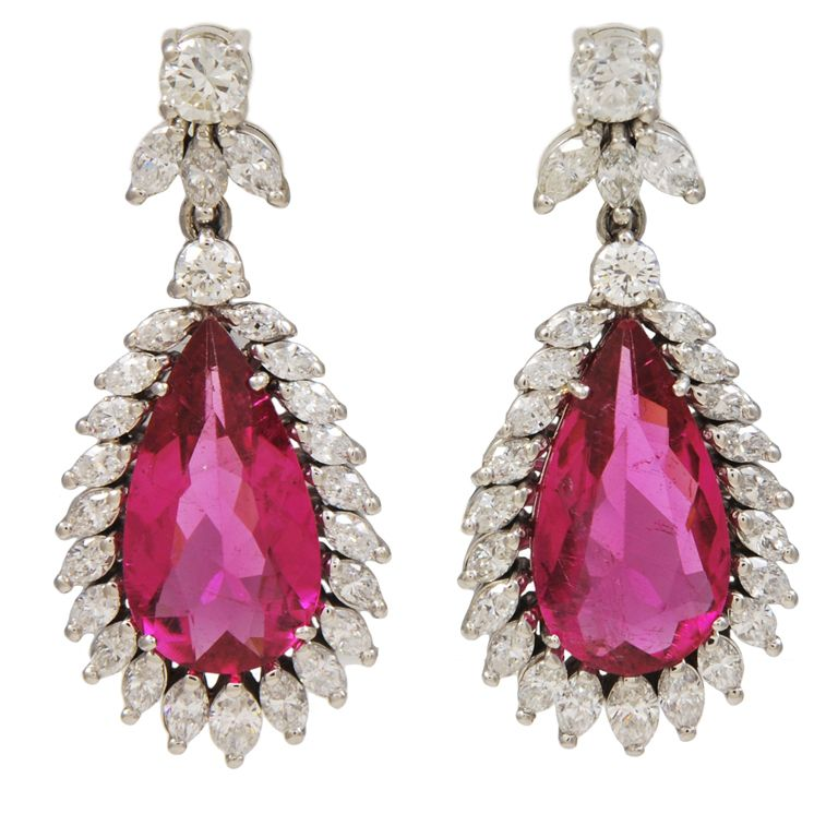 GARRARD & CO. Crown Jewellers Tourmaline Diamond Earrings.