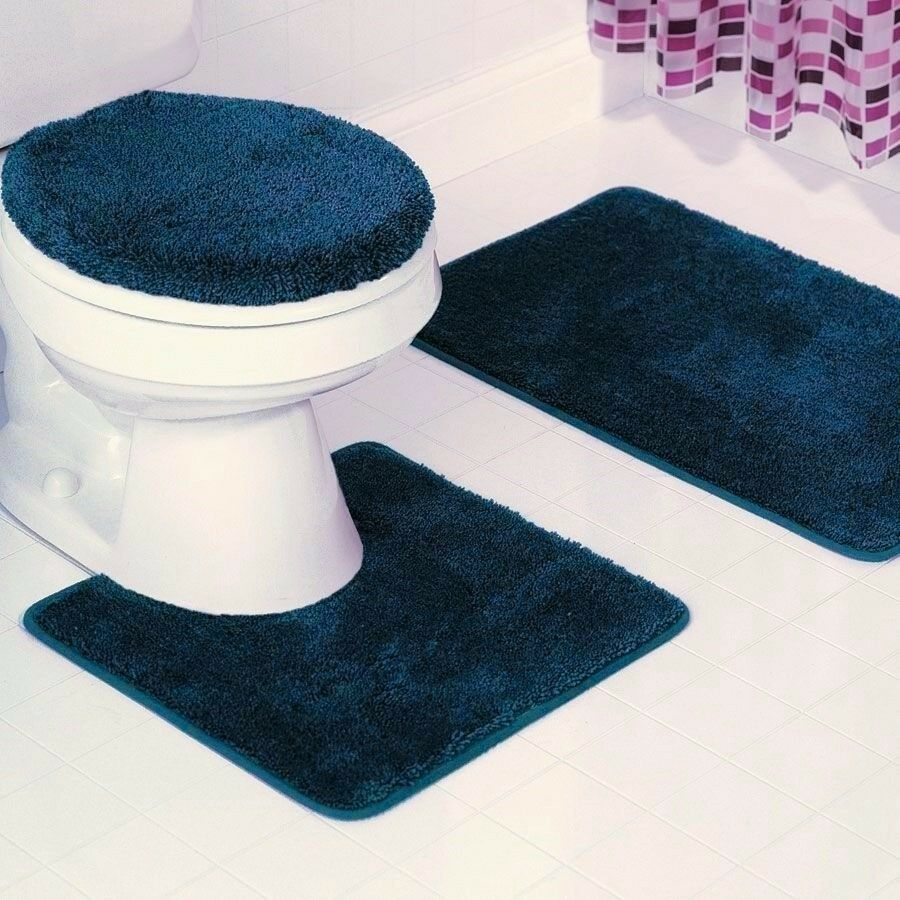 New 3pc Bathroom Set Includes 1 Bath Rug 1 Contour Mat 1 Toilet