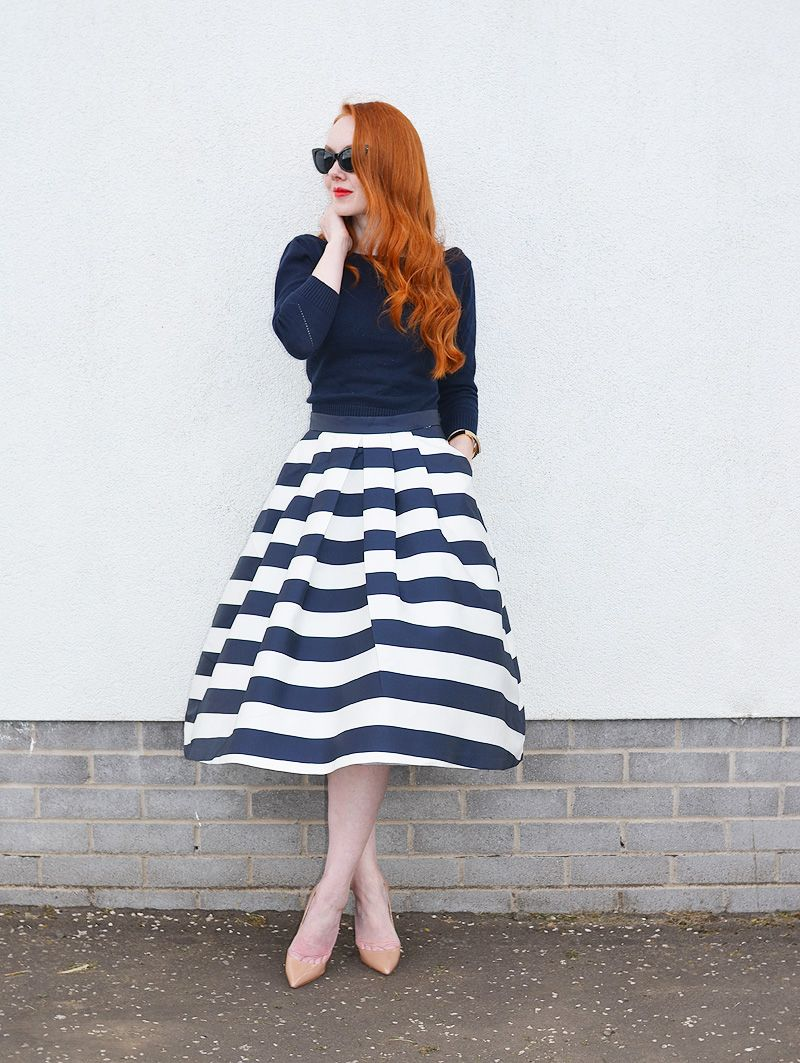 stripe midi skirt with navy fitted top