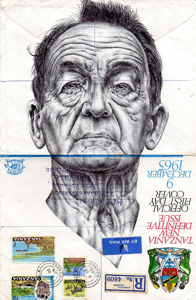 Bic Biro Drawing on 1960s envelope by Mark Powell.   I love the character of the faces combined with the uniqueness of his canvas of vintage envelopes or newspapers.