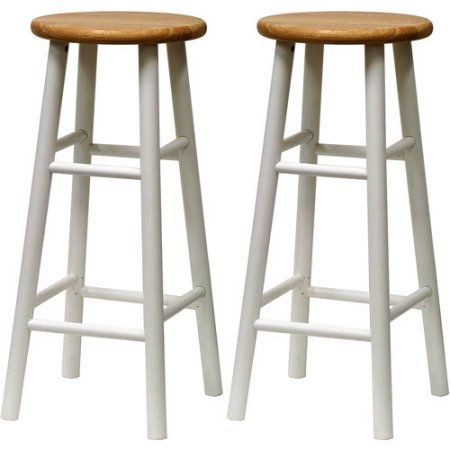 Winsome 30 Inch Bar Stools In Natural And White Set Of 2 Black