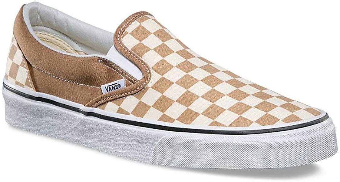 Amazon.com   Vans Classic Slip On Checkerboard Beige/Brown/White ...