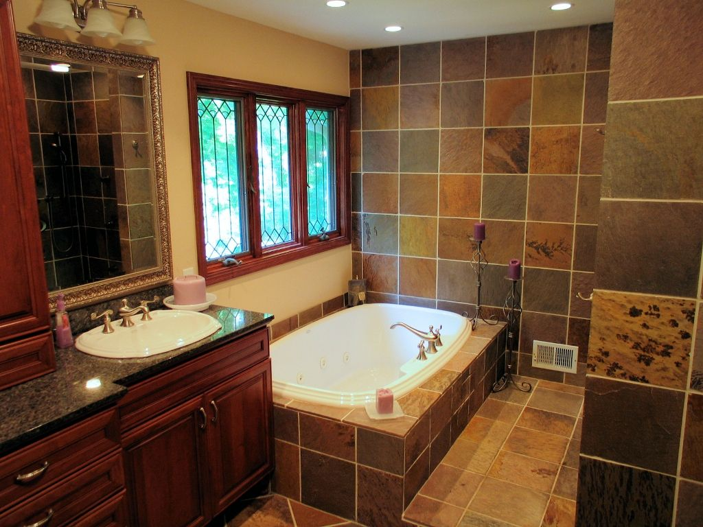 Master Bathroom Ideas  Slate Master Bath Renovation In Amusing Bathroom Remodel Indianapolis 2018