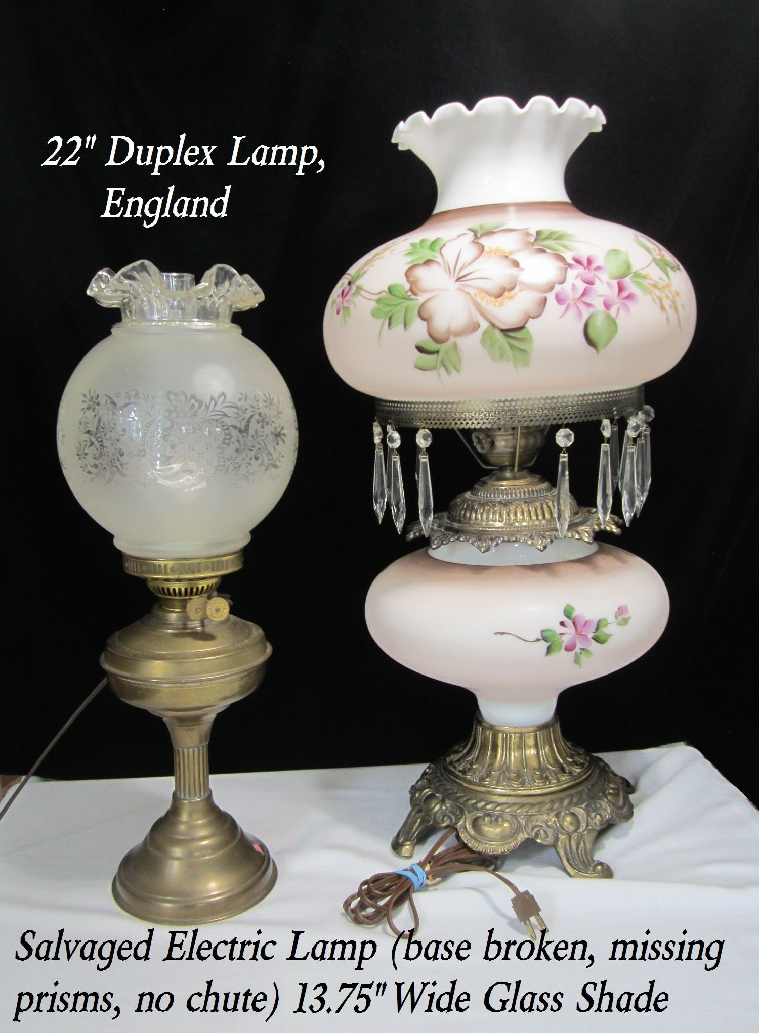 14 Glass Hurricane Lamp Shade Replacement Light Globe Vintage Kerosene Oil Parlor Lighting Hand Painted Milk Glass Mauve Purple 10 Fitter Glass Hurricane Lamps Hurricane Lamp Shade Replacement Light Globes