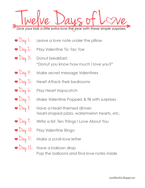 Kids Valentine's Day Activity: Twelve Days of Love | Holidays and ...