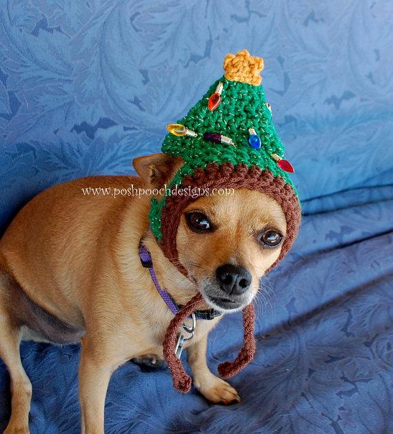 e4f43ce0391 Christmas Tree Dog Hat Small Dog Beanie by poshpoochdesigns Dog Beanie