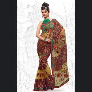 Classy Apricot & Wine Color Embroidered Saree  Item Code: IV42880  Color: Apricot, Wine Color  Fabric: Brasso, Net  Work: Lace, Resham, Sequins  Price: £51.00