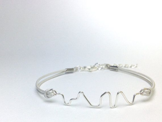 Custom Order Pearl White Leather Cord With Silver Wire Soundwave Bracelet I D Like To Catch Macy Doing Her Meow That Sounds My Name 24