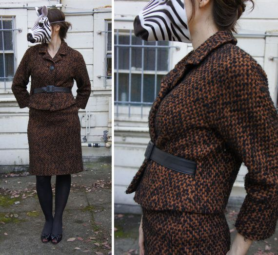 Vintage 60s Piece Brown and Black Chic Fuzzy Tweed Belted Suit with Stylish Jacket and Pencil Skirt, Tailored by Gaynes - sz M