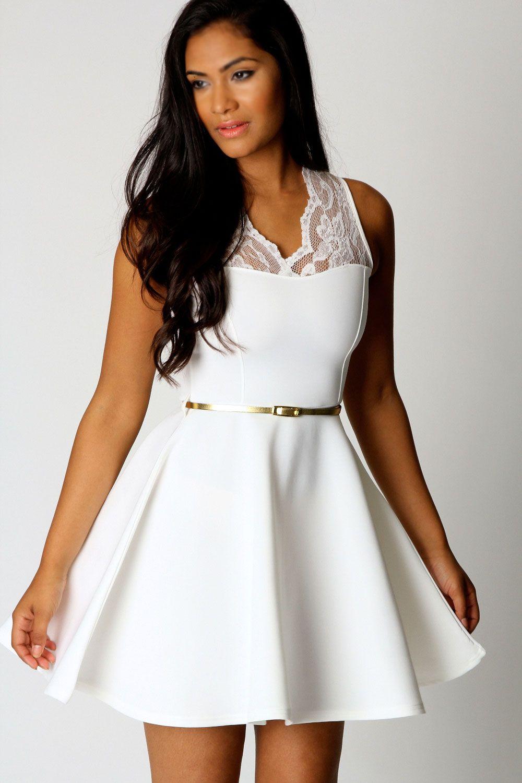 nadine scallop lace belted skater dress lovely dresses