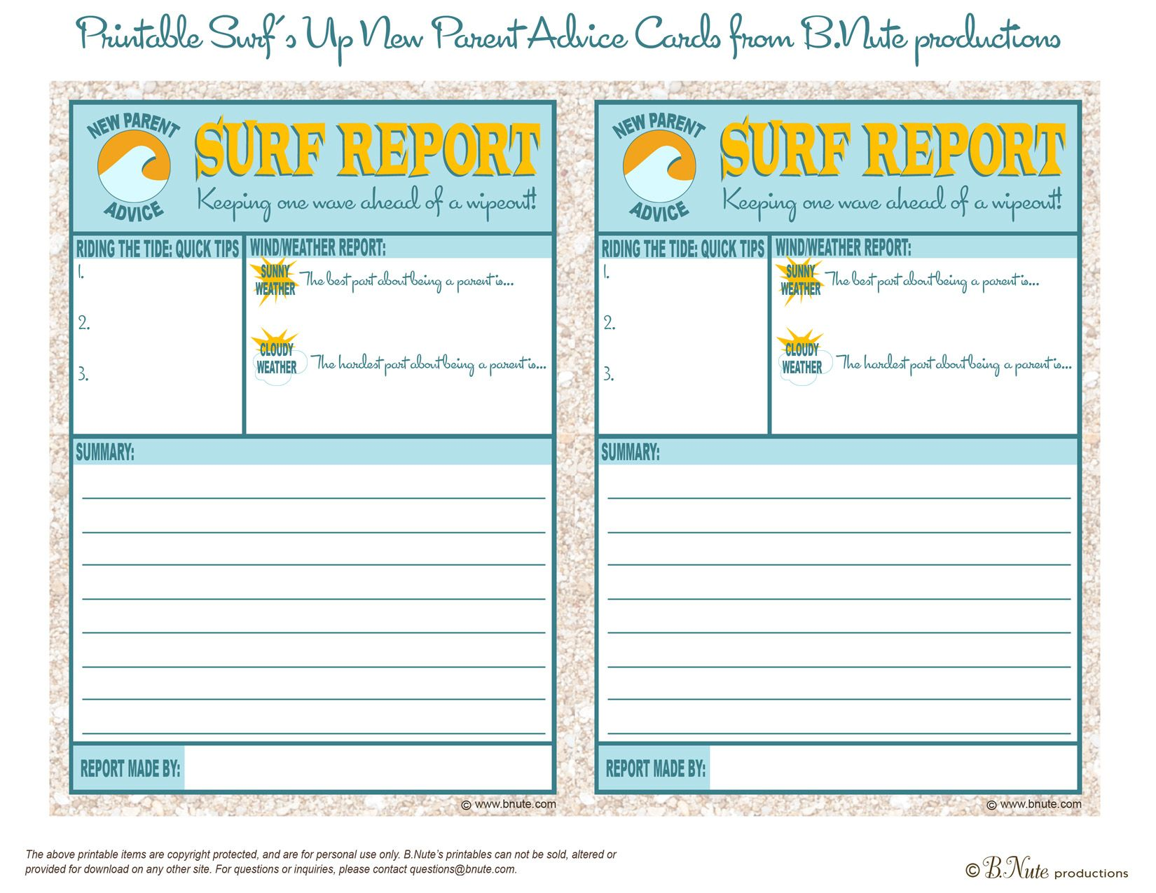 Free Printable Surf Report: New Parent Advice Card | Printables ...