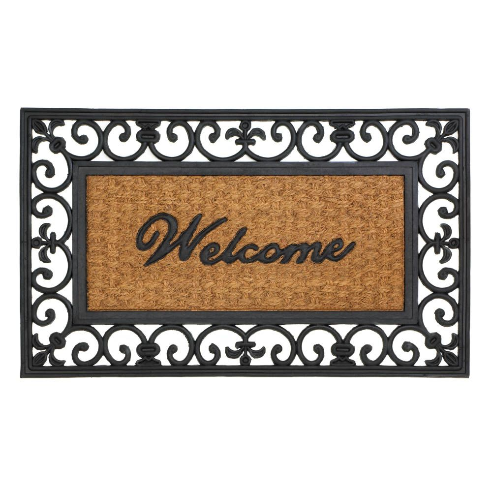10017417 Fleur De Lis Framed Entry Mat A Warm Welcome Home This Beautiful Entry Mat Features A Black Rubber Border Embe Door Mat Welcome Door Mats Entry Mats Fleur de lis door mats