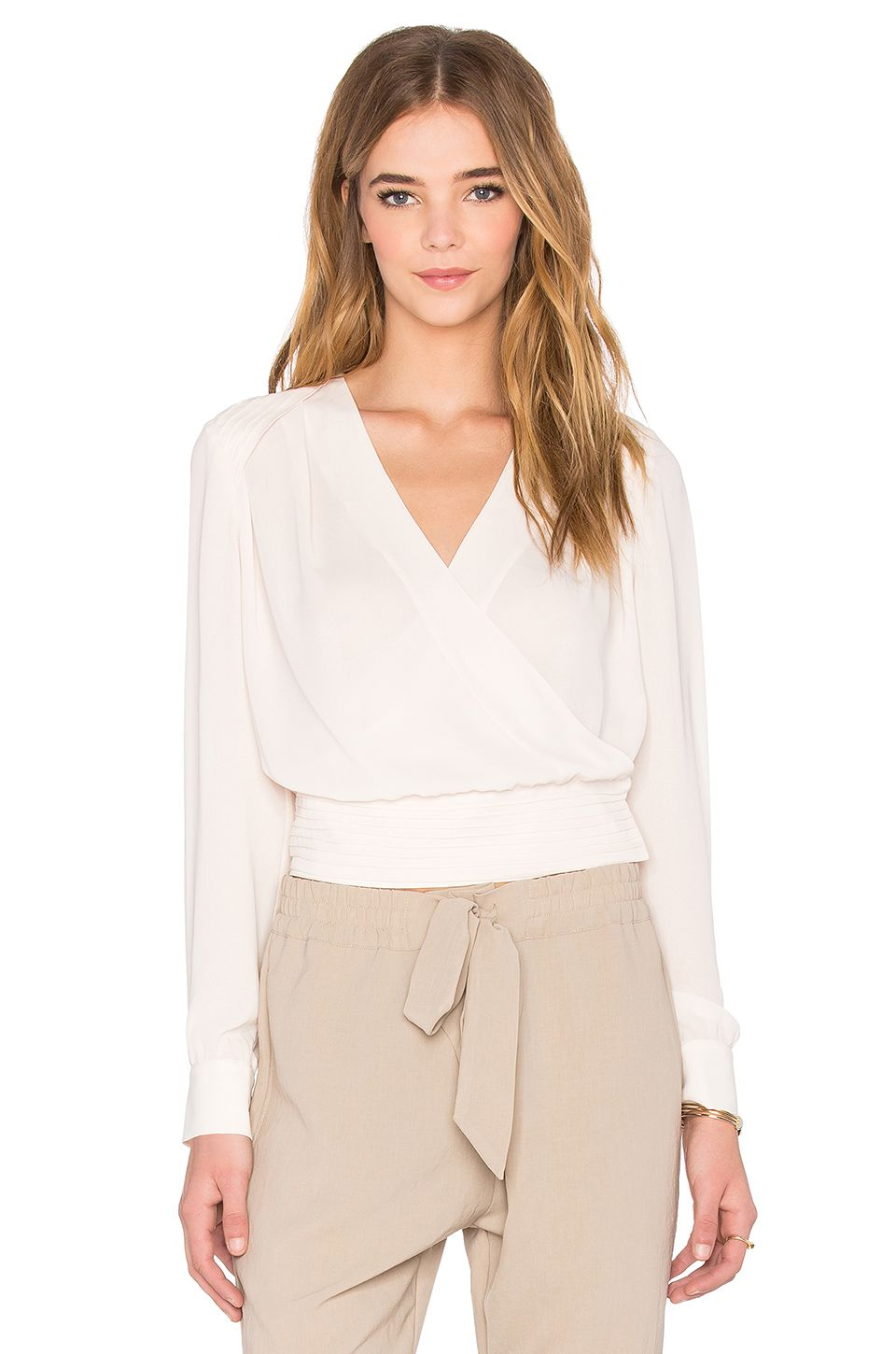 f271f212eb1 NATIVE STRANGER Pleated Wrapped Front Blouse in Beige