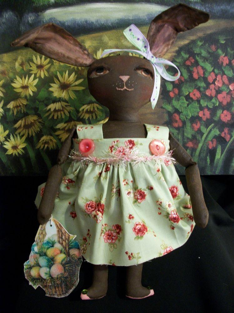 Primitive dolls~Bunny Tess 13 in.~original~ OOAK~Easter holiday decor #NaivePrimitive