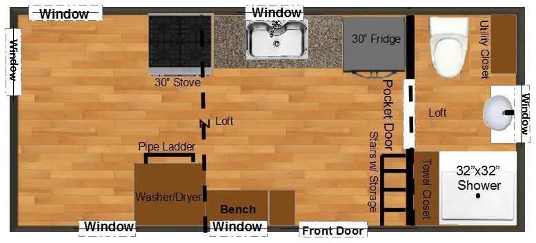 tiny house plans for an 8x16 lexington tiny house thow - Tiny House Floor Plans