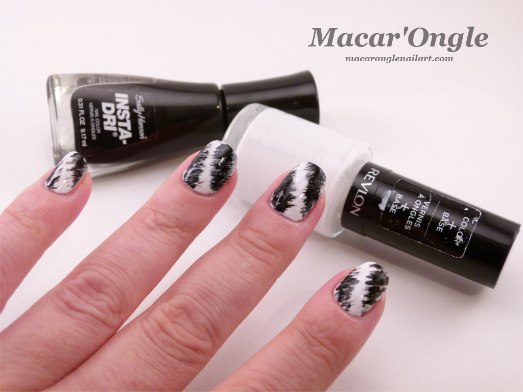 Macar\'Ongle - 40 great nail art ideas – Black and white + fan brush ...