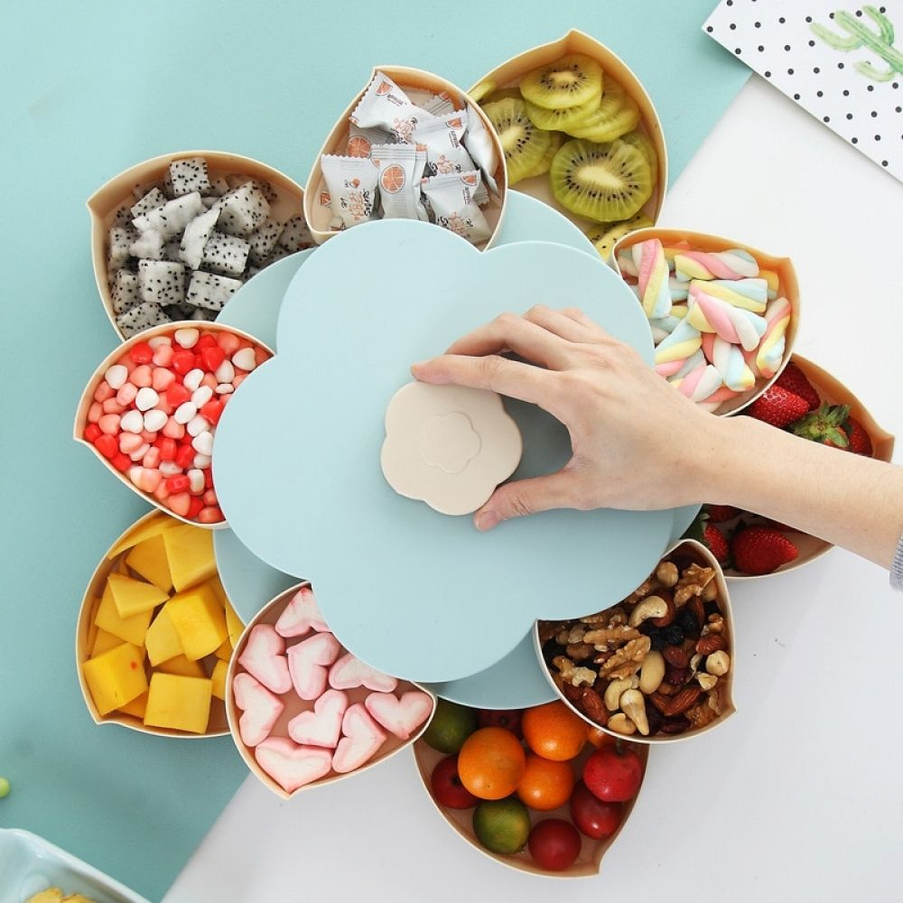 Two Layers Rotating Plastic Decorative Storage And Boxes In 2020 Fruit Storage Food Storage Boxes Snack Storage