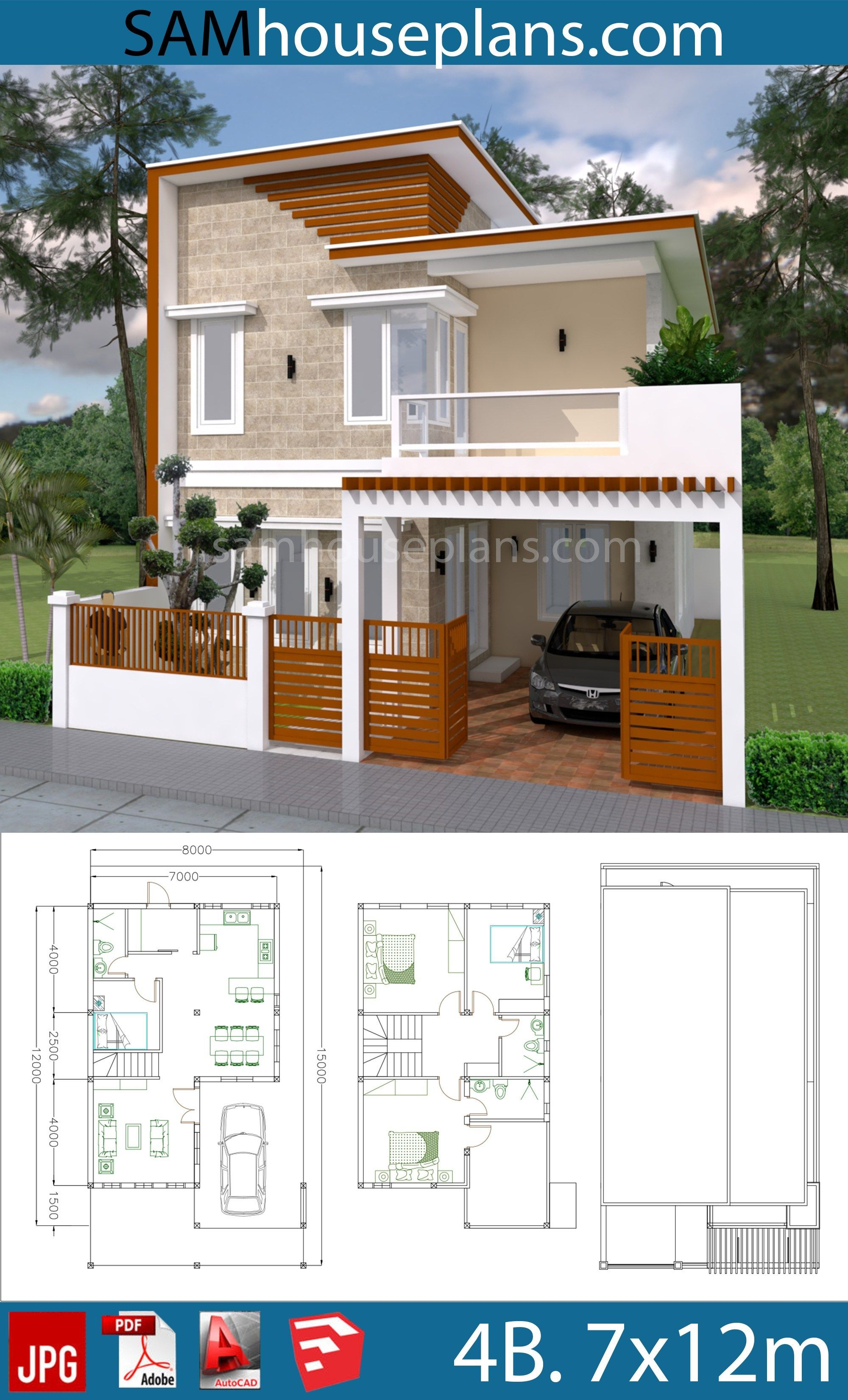 House Plans 7x12m with 4 Bedrooms Plot 8x15 - Sam House ...