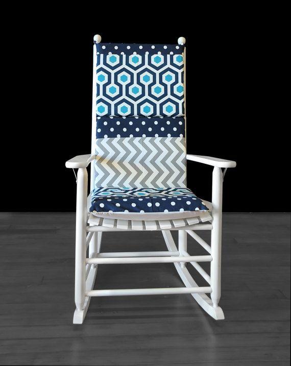 Rocking Chair Cushion Navy Turquoise Blue Grey Chevron Polka Dot Patchwork  By RockinCushions