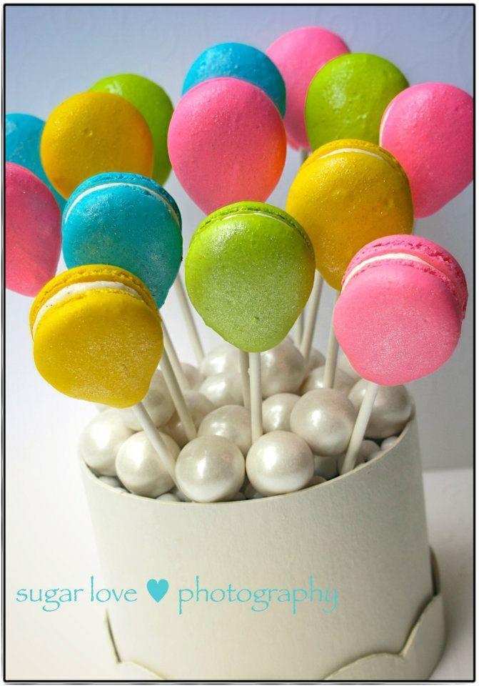 Macaron Balloon Lollipops