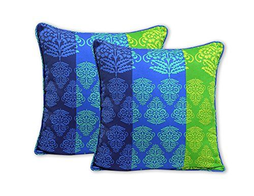 ShalinIndia Teal Green Striped Cushion Cover Set With 2 Throw Pillow Covers Cotton Fabric 18x 18 Inch