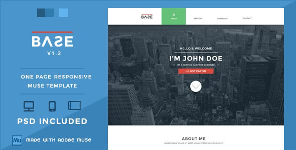 Base One Page Responsive Muse Theme Personal Muse Templates