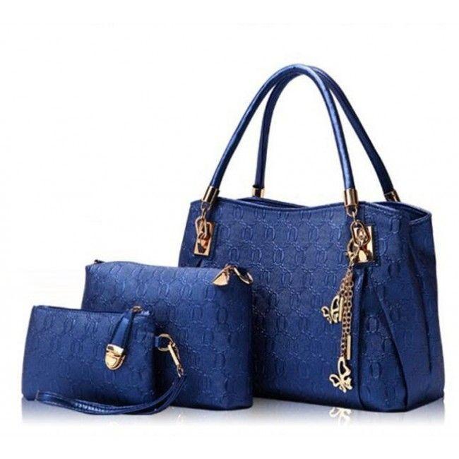 Women Fashion Designer Leather Handbag Messenger Bag Purse 3 Sets