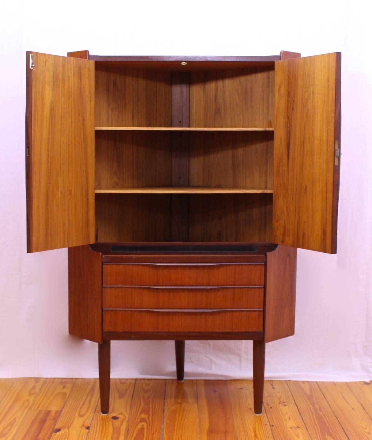 Danish Mid Century Modern Teak Corner Cabinet Image 2